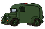 Funny vintage military ambulance