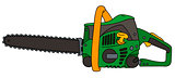 Green and yellow chainsaw
