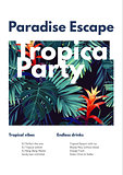 Floral vertical party flyer design with guzmania flowers, monstera and royal palm leaves. Exotic hawaiian vector background.