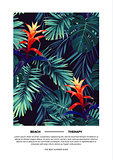 Floral vertical postcard design with guzmania flowers, monstera and royal palm leaves. Exotic hawaiian vector background.