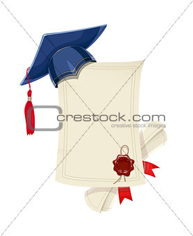 Blue academicic graduation cap with diploma blank and scroll