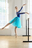 Ballerina is training in hall