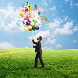 Creative businessman with colorful idea