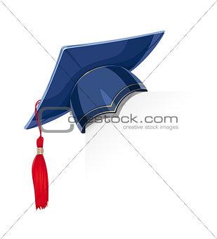 Blue academicic graduation cap on paper corner