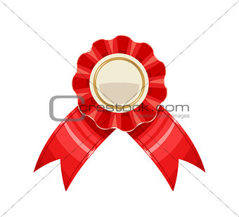 Award medal with red ribbon vector illustration.