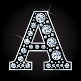 A vector letter made with diamonds isolated on black background