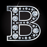 B vector letter made with diamonds isolated on black background