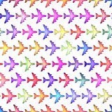 Seamless colorful  texture airplane