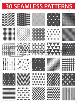 30 retro styled black vector seamless patterns