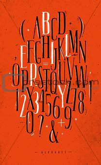 Alphabet gothic font red