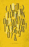 Alphabet gothic font yellow