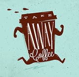 Poster take away coffee turquoise