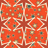 Orange Seamless stars pattern Print