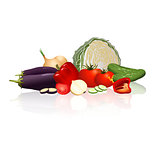 different vegetables: cabbage, peppers, onions, tomatoes