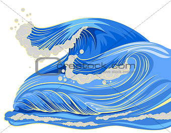 Blue high wave with white foam cap