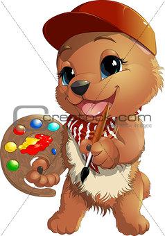 Bear artist in a cap