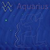 Zodiac sign Aquarius contour on the starry sky