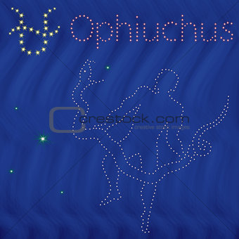 Alternative Zodiac sign Ophiuchus contour on the starry sky