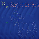 Zodiac sign Sagittarius contour on the starry sky