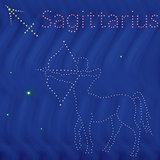 Zodiac sign Sagittarius contour on the starry sky