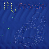 Zodiac sign Scorpio contour on the starry sky