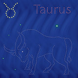 Zodiac sign Taurus contour on the starry sky