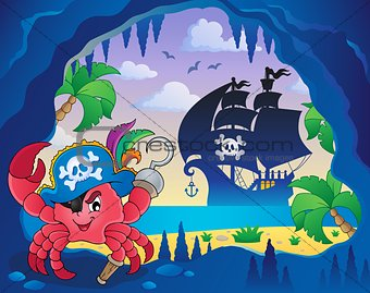 Cave with pirate crab