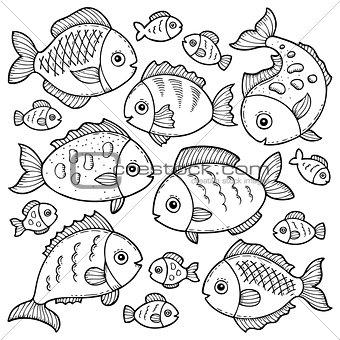 Fish drawings theme image 1