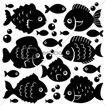 Fish silhouettes theme set 1
