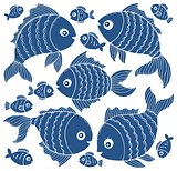 Fish silhouettes theme set 3