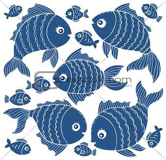 Fish silhouettes theme set 3