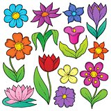Flower drawings thematic set 2