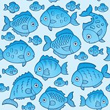 Seamless background with fish drawings 1