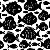 Seamless fish silhouettes theme 1