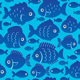 Seamless fish silhouettes theme 2
