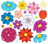 Stylized flower heads theme set 1