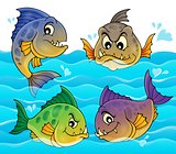 Water and four piranhas