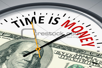 clock with text time is money
