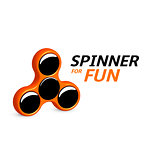 Spinner logo design. Entertaining gaming device, simple mechanism for fan, soothing. 3d vector illustration eps10.