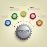 Info graphic with abstract colored desig gears template