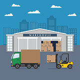Warehouse building and shipping process.