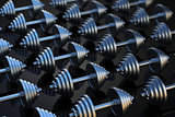 Dumbbells on a black reflective surface. 3D illustration