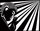 Buddha Raised Hand with Light Rays Black and White Illustration