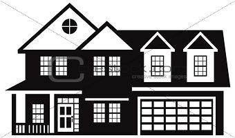 House with Two Car Garage Black White Illustration