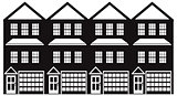 Townhouse with Tandem Garage Black and White Illustration