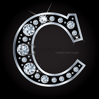 C vector letter made with diamonds isolated on black background