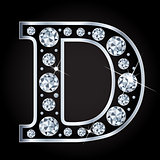 D vector letter made with diamonds isolated on black background