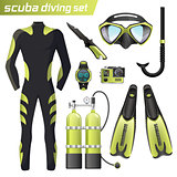 Realistic snorkeling and scuba diving equipment. Scuba-diving gear isolated. Diver wetsuit, scuba mask, snorkel, fins, regulator dive icons.