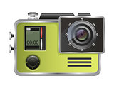 Vector camera Action Cam isolated on white background.