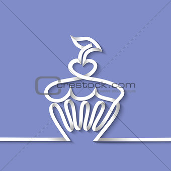 Cup cake with cherry